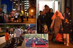 chaos as more than 80 residents refuse to leave homes amid evacuation in wake of grenfell tower blaze