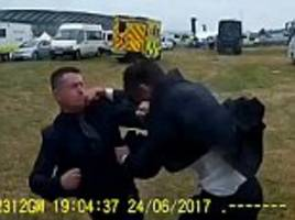 tommy robinson is filmed punching a man in royal ascot