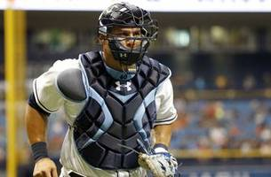 rays fall to orioles in ramos' return behind the plate