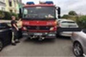 fire engine blocked after daft drivers park cars on very narrow...