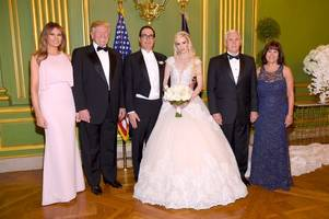donald and melania trump compete for the spotlight as scots actress louise linton ties the knot with treasury secretary
