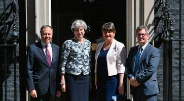 DUP Tory deal live updates: Arlene Foster, Jeffrey Donaldson and Nigel Dodds meet Theresa May at Downing Street