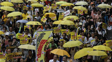 hong kong activists stage china protest ahead of president xi jinping visit