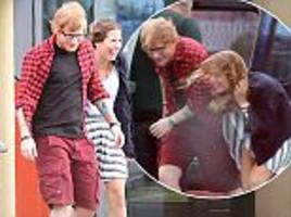 Ed Sheeran on helicopter with girlfriend after Glastonbury