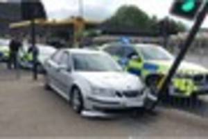 Car crashed into pedestrian crossing after driver failed to stop...