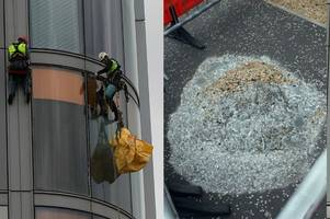window pane crashes from top of flagship glasgow hospital for second time in two months