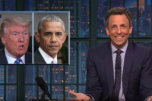 seth meyers slams trump for getting 'trolled' by obama (video)