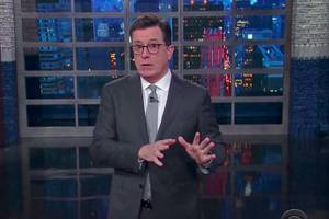 stephen colbert returns from russia with a mock apology for trump (video)