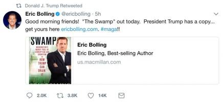 President Trump Retweets a Plug for New Book from Fox News' Eric Bolling
