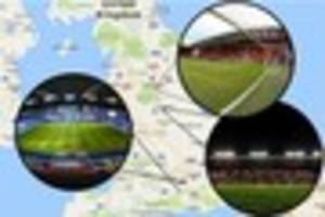 how far will derby county fans have to travel in the championship...