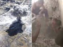 syria missile attacks in damascus, children being rescued