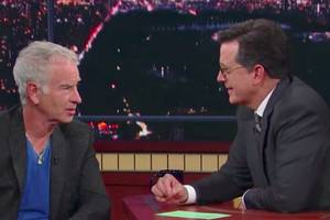 stephen colbert calls john mcenroe out on his recent serena williams comments (video)