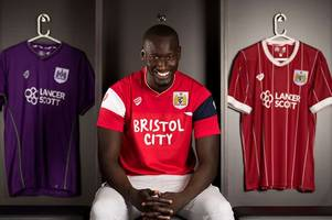 Famara Diedhiou models new Bristol City home shirt for 2017/18 season