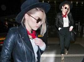 amber heard nails bohemian chic in edgy leather jacket