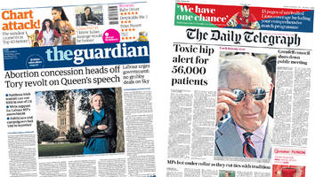 newspaper headlines: 'abortion concession heads off tory revolt'