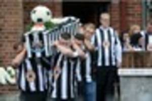 hundreds wear newcastle united shirts as they attend funeral of...