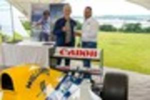 damon hill parks up  his f1 racing cars at michael caines' hotel...