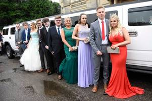 see outwood academy brumby pupils arriving in style at normanby hall for their school prom