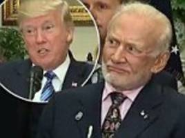 hilarious moment buzz aldrin gives trump baffled look