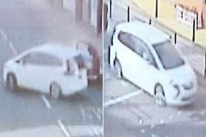 horrifying moment woman kidnapped and forced into back of car in broad daylight captured on cctv