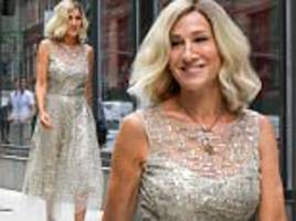 sarah jessica parker seen filming in nyc with blonde hair