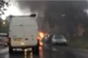 This dramatic video of a vehicle on fire was taken in Longfield...