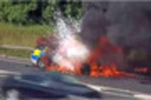 moment police car explodes on a38 is caught on camera