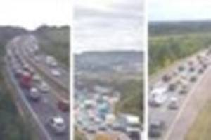 Long delays on A38 and A30 after bikes crash on M5