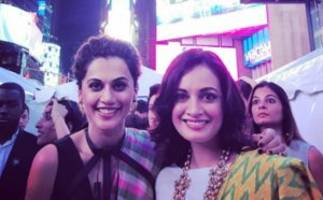taapsee pannu & dia mirza turn showstoppers for iifa's times square fashion show