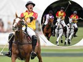 prince harry and brother wills enjoy charity polo match