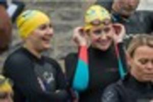 brave swimmers take on drake island swim in freezing waters
