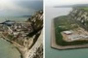 pictures look back at samphire hoe's creation as the dover park...