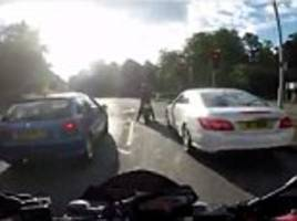 Mercedes driver with severe road rage chases motorcyclist