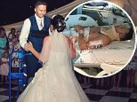 paralysed groom manages to stand unaided to say his vows