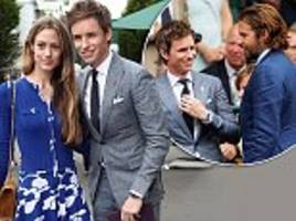 eddie redmayne looks dapper in a grey suit at wimbledon