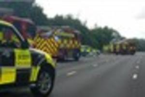 First pictures show car alight on M25 between Waltham Abbey and...