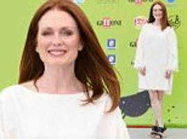 julianne moore parades her porcelain pins in chic shift