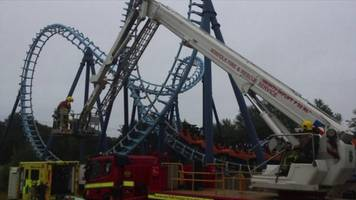 pleasurewood hills theme park: man rescued from rollercoaster