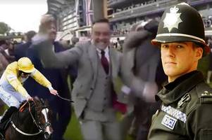 cop caught on camera celebrating his horse's big win at royal ascot after taking a sickie from work