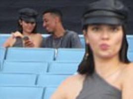 kendall jenner takes up entire section of dodgers stadium