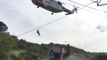 helicopter rescue from cornwall flood