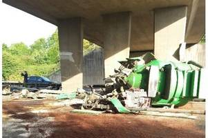 M5 motorway closed near Tiverton and Devon Somerset border: video shows lorry crash and farm machinery wreckage at junction 27