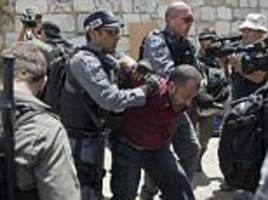 palestinians clash with israeli police outside jerusalem