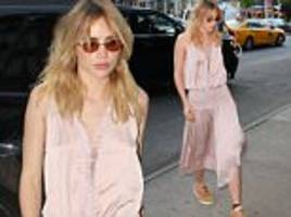 suki waterhouse wears silk pink frock and trainers in nyc