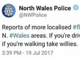 police tell walkers to take willies out in bad weather