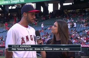 angels live: angels fan, usc alum, pro tennis star, and olympic medalist stevie johnson with alex curry before throwing first pitch