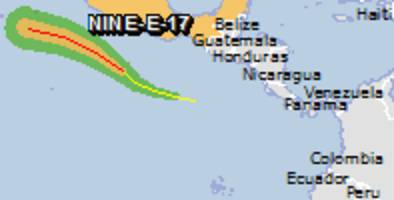 Green alert for tropical cyclone NINE-E-17. Population affected by Category 1 (120 km/h) wind speeds or higher is 0.