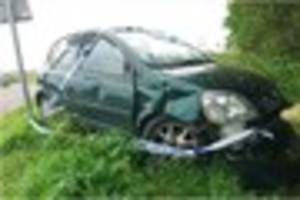 Driver of crashed car reported for driving with no insurance