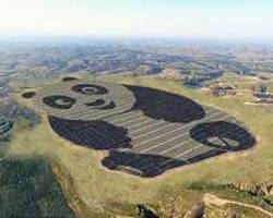 chinese solar farm in the shape of a giant panda can be seen from space