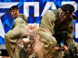 troops perform at opening of russian patriotic theme park